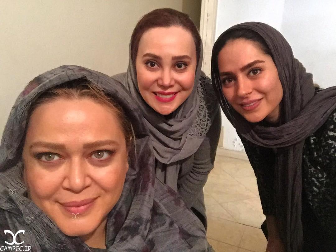 سمانه پاکدل آرام جعفری و بهاره رهنما در پشت صحنه سریال همسایه ها
