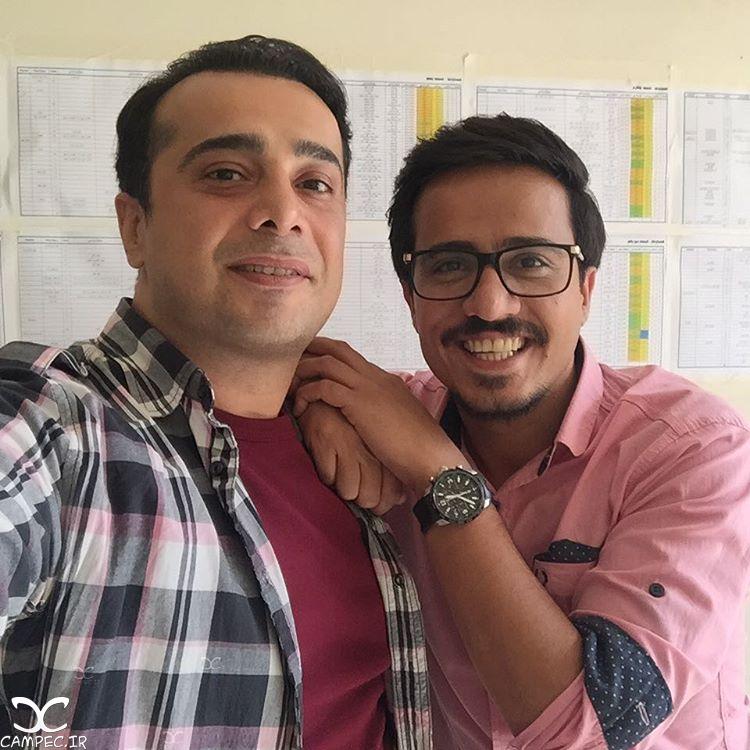 حسین سلیمانی و سپند امیرسلیمانی در پشت صحنه سریال همسایه ها