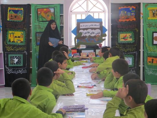 نقاشي روي پارچه به مناسبت ماه محرم و هفته ملي کودک