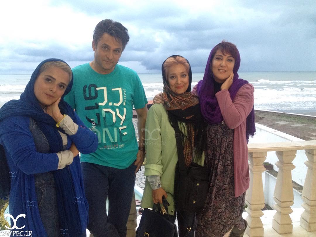حسین یاری و پانته آ بهرام سر صحنه سریال عاشقانه