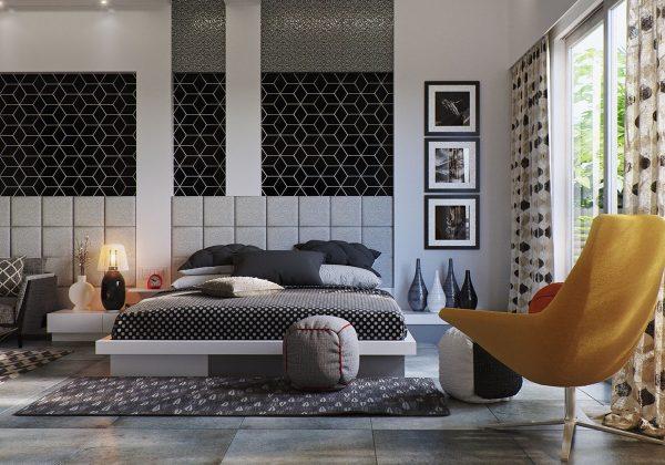 عکس اتاق خواب با تم خاکستری5