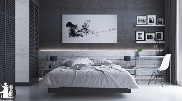 عکس اتاق خواب با تم خاکستری6