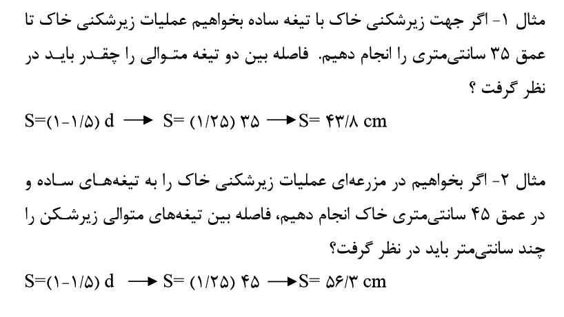 فرمول محاسبه فاصله تیغه های ساده در زیر شکن
