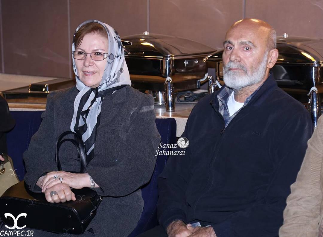 جمشید هاشم پور و همسرش در اکران فیلم نفس