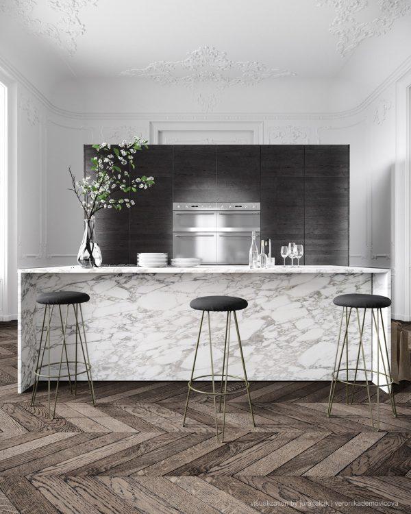 سنگ مرمر سفید در آشپزخانه6