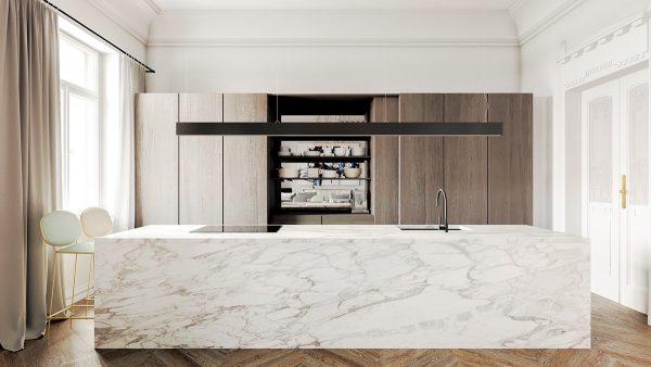 سنگ مرمر سفید در آشپزخانه7