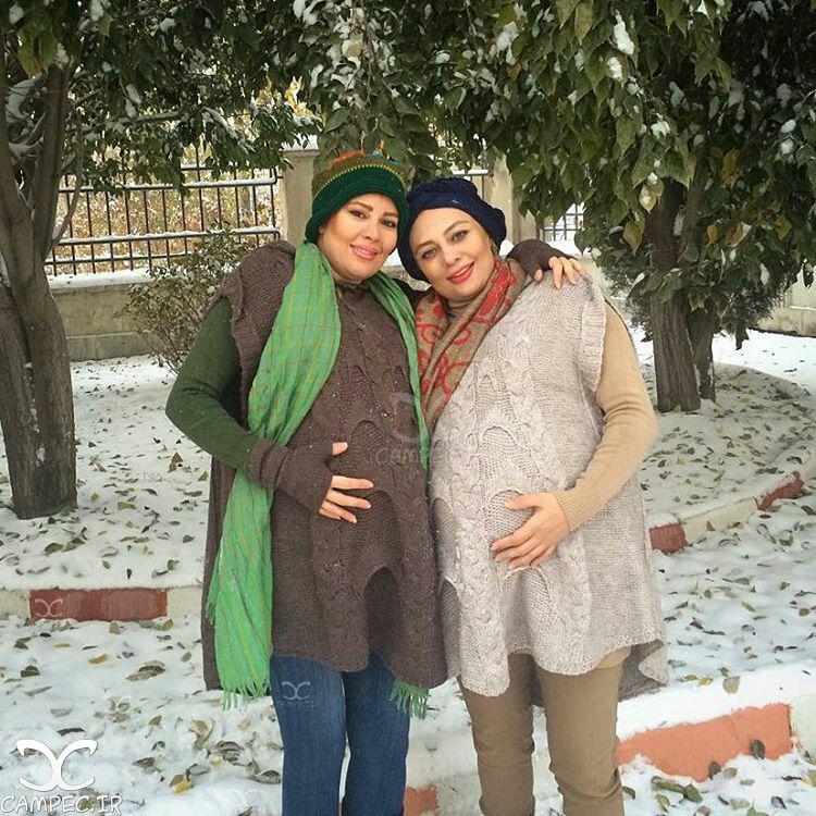 یکتا ناصر با خواهرش در روز برفی تهران
