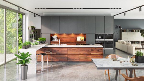 کابینت آشپزخانه به رنگ طوسی (خاکستری)