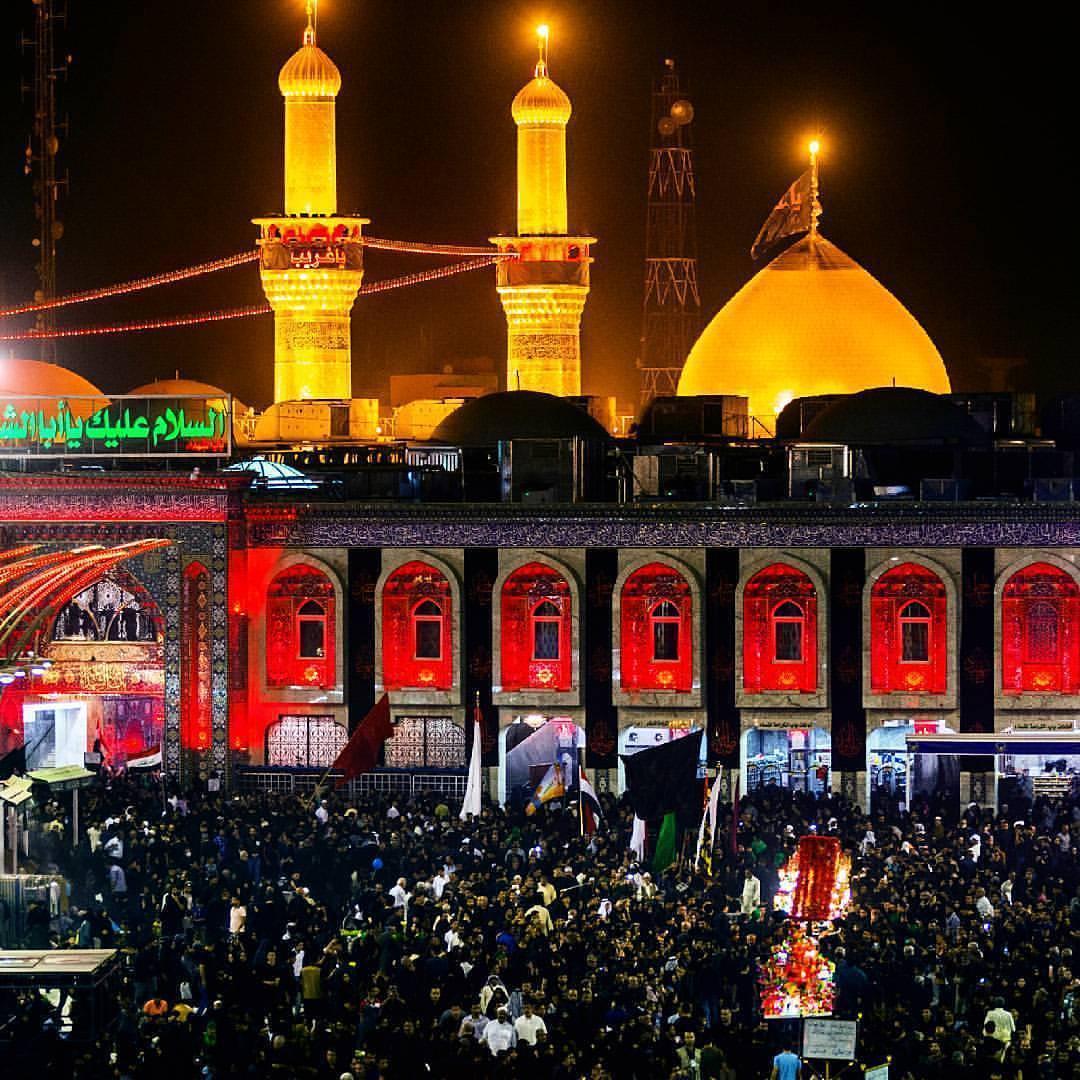 عکس حرم امام حسین در شب