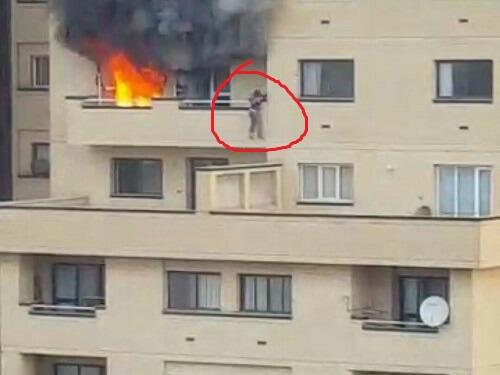 کلیپ پرتاب زنی از ساختمان برای فرار از آتش سوزی بلوار سازمان آب مشهد