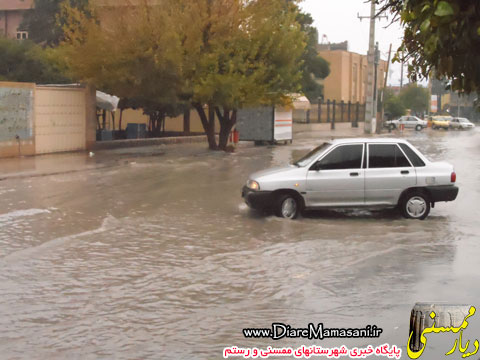 تصاویر بارندگی و آبگرفتگی معابر در نورآبادممسنی