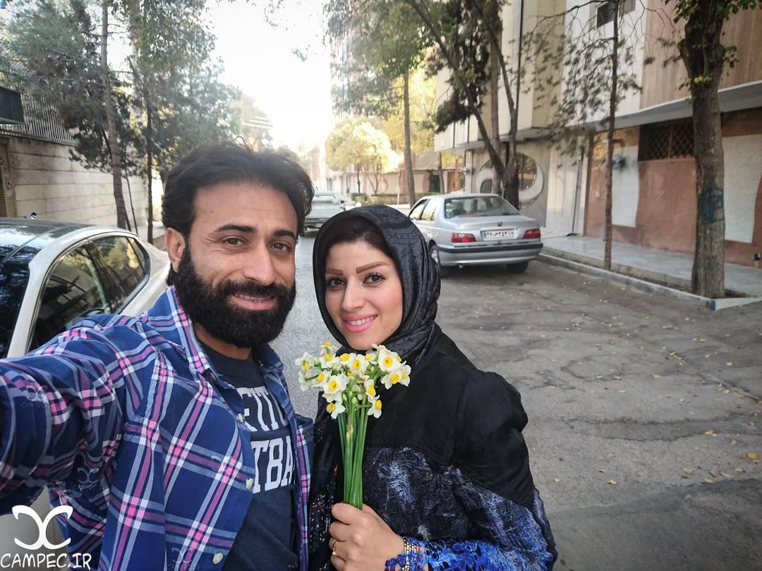 مهدی رجب زاده با همسرش
