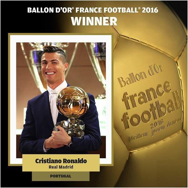 مراسم اهدای توپ طلا 2016 انتخاب بهترین بازیکن سال به کریستیانو رونالدو