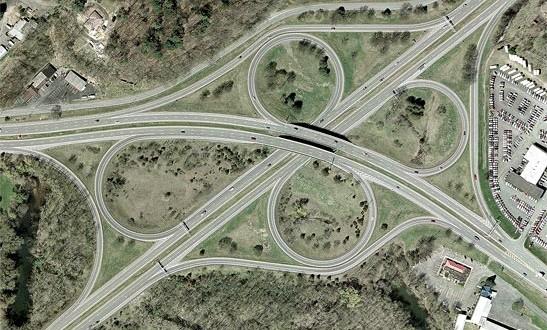 نقشه راه و بزرگراه  تصویر هوایی