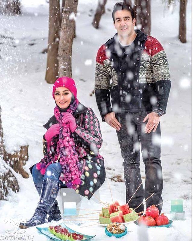 عکس الهام حمیدی و پوریا پورسرخ به مناسبت شب یلدا