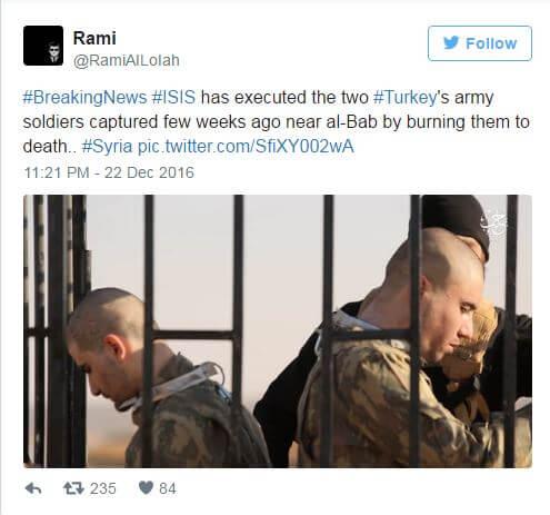 دانلود فیلم آتش زدن دو سرباز ترکیه توسط داعش