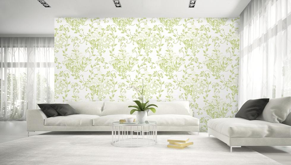 کاغذ دیواری رنگ روشن و طرح های سبز image