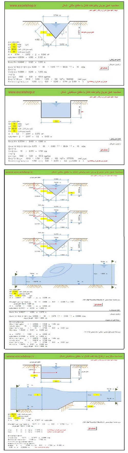 برنامه تحت اکسل محاسبه معیارهای هیدرولبکی طراحی کانال ها ی روباز
