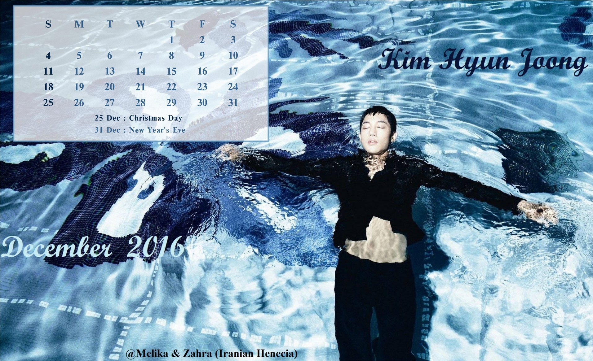 Calendar of December 2016 - Fanart by Melika and Zahra
