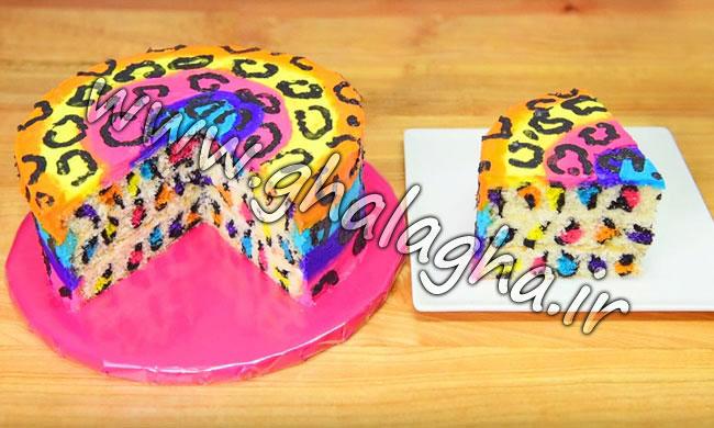 کیک پلنگی رنگین کمانی مناسب تم رنگین کمانی