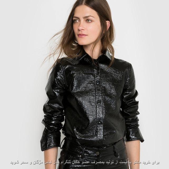 مدل لباس مشکی چرم صنعتی و نبوک با طرح یقه