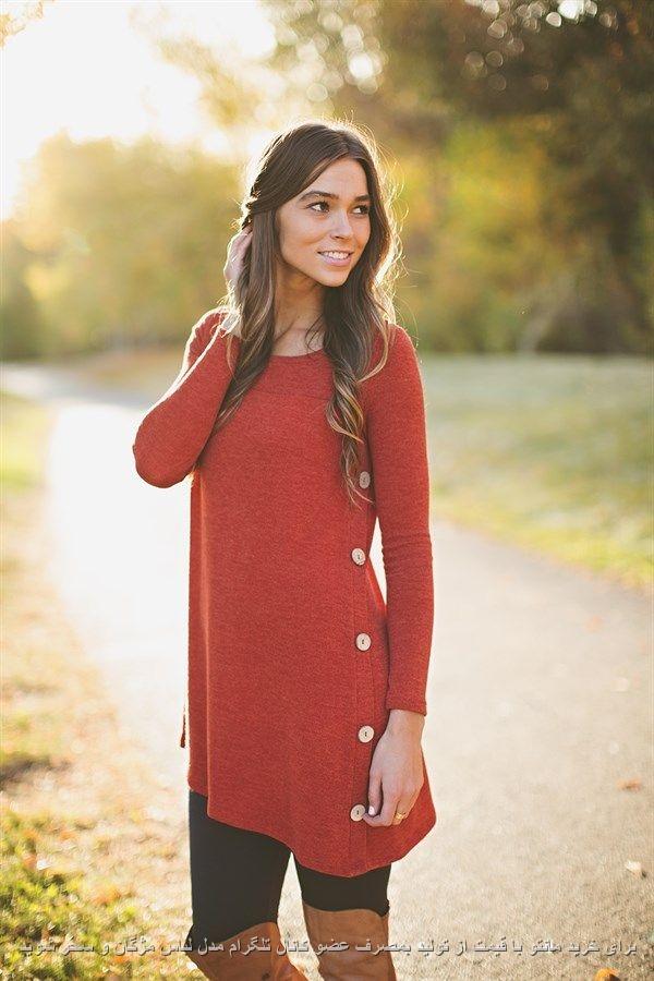 تونبک دخترانه با یقه گرد رنگ قرمز