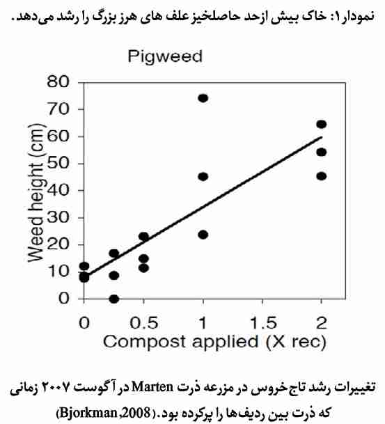 نمودار تغییرات رشد علف هرز تاج خروس در مزرعه ذرت