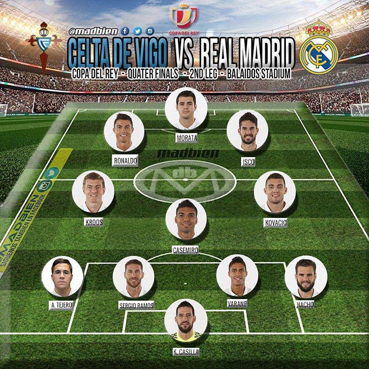 ترکیب احتمالی رئال مادرید مقابل سلتاویگو