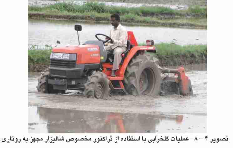 عملیات گلخرابی با استفاده از تراکتور مخصوص شالیزار مجهز به روتاری