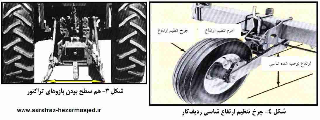 هم سطح بودن بازوهای تراکتور - چرخ تنظیم ارتفاع شاسی ردیف کار