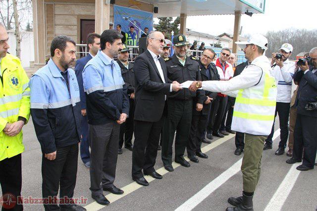 رزمایش و رژه موتوری یگان های انتظامی و امدادی گیلان در آستانه نوروز ۹۶
