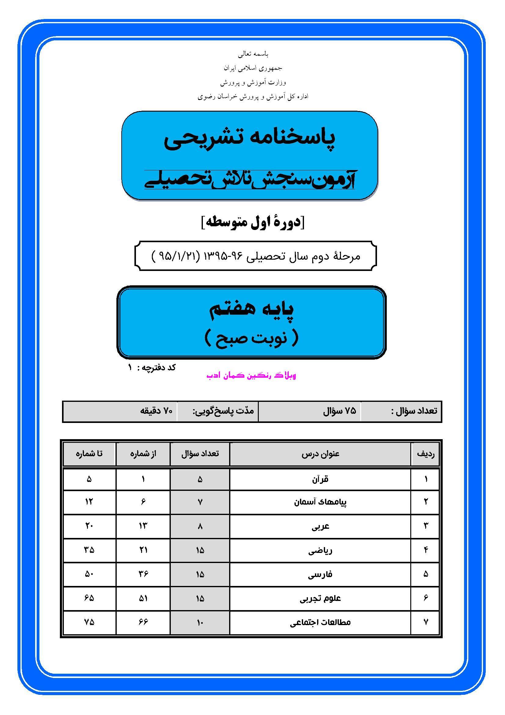 فال حافظ وفا شیرازی نمونه سوالات ازمون سنجش اول هفتم
