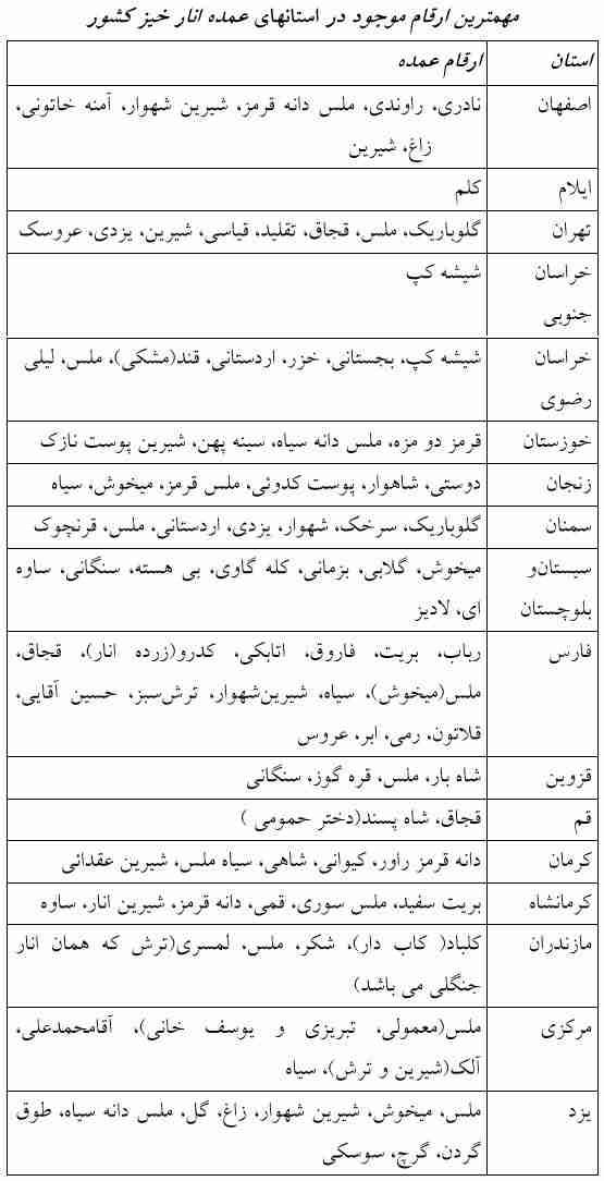 مهمترین ارقام انار در ایران