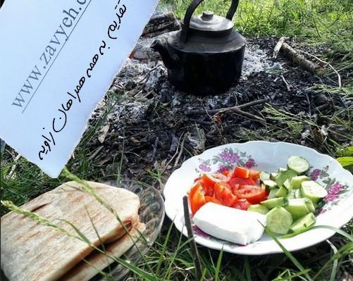 صبحانه داغ و عالي با نان بربري در طبعيت
