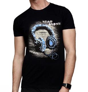 تی شرت مردانه طرح هدفون