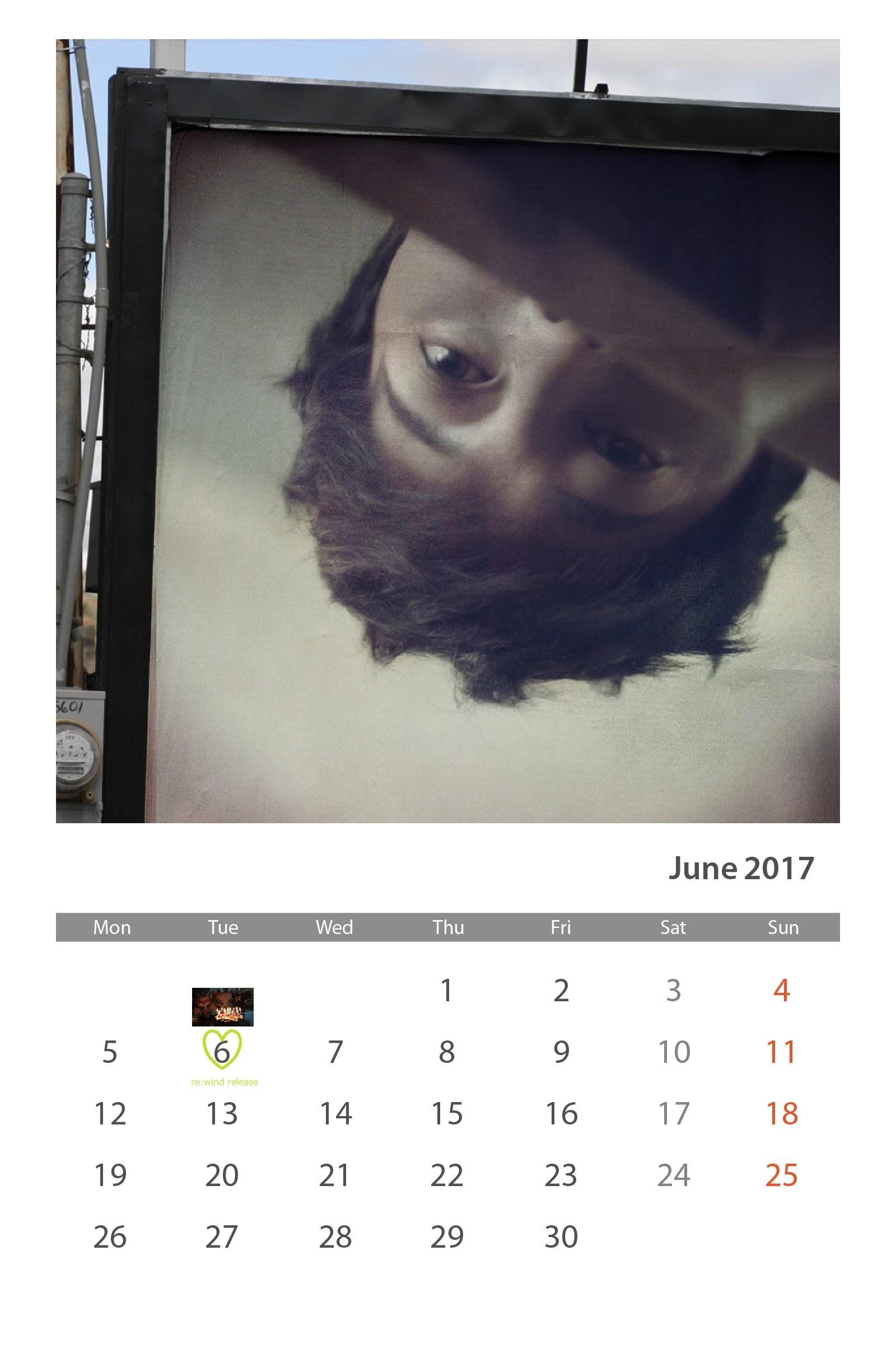 Calendar of June 2017 - Happy Birthday KHJ