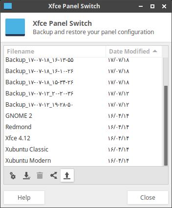 عکس صفحهٔ تنظیمات طرح ها در xfce