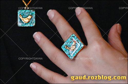 فروش پستی ست انگشتر فیروزه ای مرغ آمین