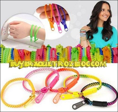 دستبند دخترانه فشن طرح زیپ در رنگ های مختلف