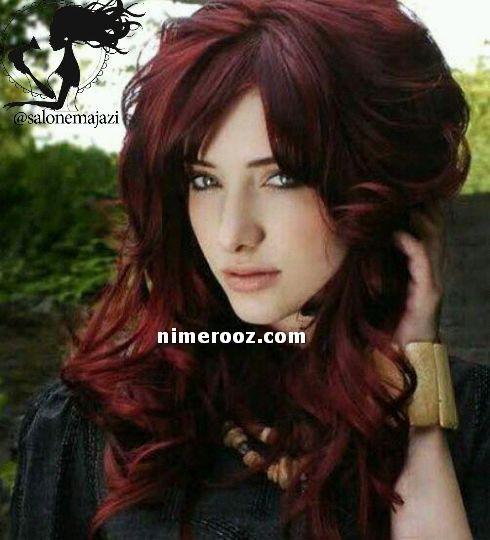 ترکیب رنگ مو قرمز ماهاگونی بادمجونی رنگ مو تیره و متوسط ترکیبی بدون دکلره
