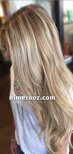 عکس و فرمول ترکیب رنگ مو بلوند ماسه ای روشن رنگ مو هایلایت ماسه ای روی زمینه شنی