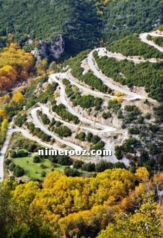 اموزش رانندگی در جاده چالوس جاده پرپیچ و خم کوهستانی