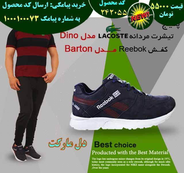 خرید پیامکی پکیج تیشرت مردانه LACOSTE مدل DINO و کفش REBOOK مدل BARTON