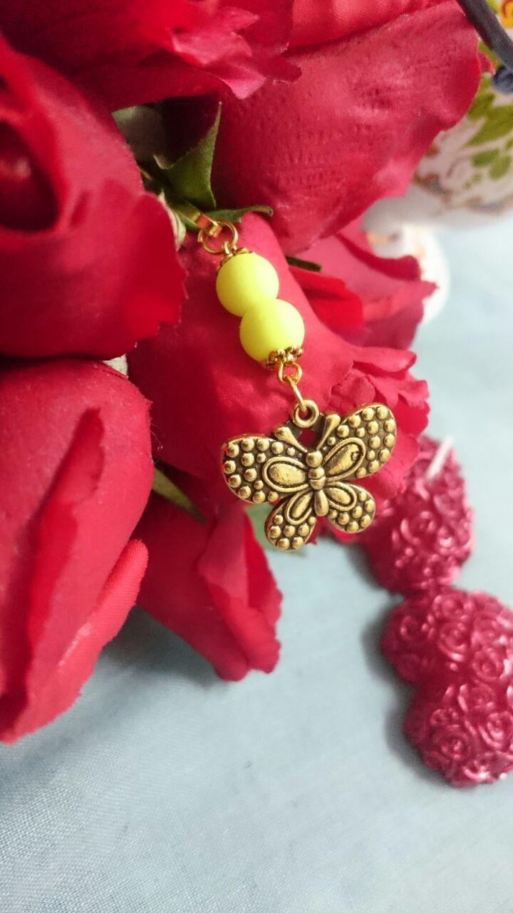 گیره  روسری  طرح پروانه با مهره های نئونی