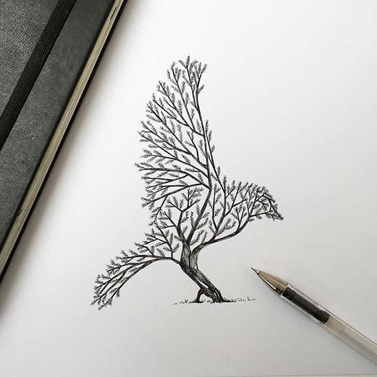 نقاشی عاشقانه ساده با خودکار