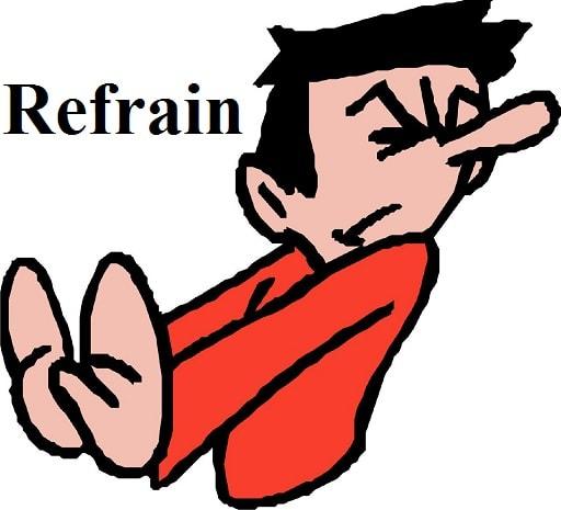 خود داری کردن – Refrain – آموزش لغات کتاب ۵٠۴ – English Vocabulary – کدینگ لغات ۵٠۴
