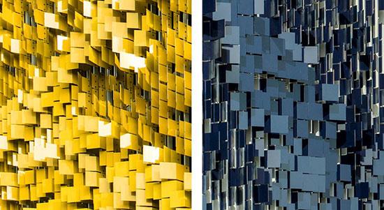 ساختمانی که با عبور از کنار آن رنگش عوض میشود