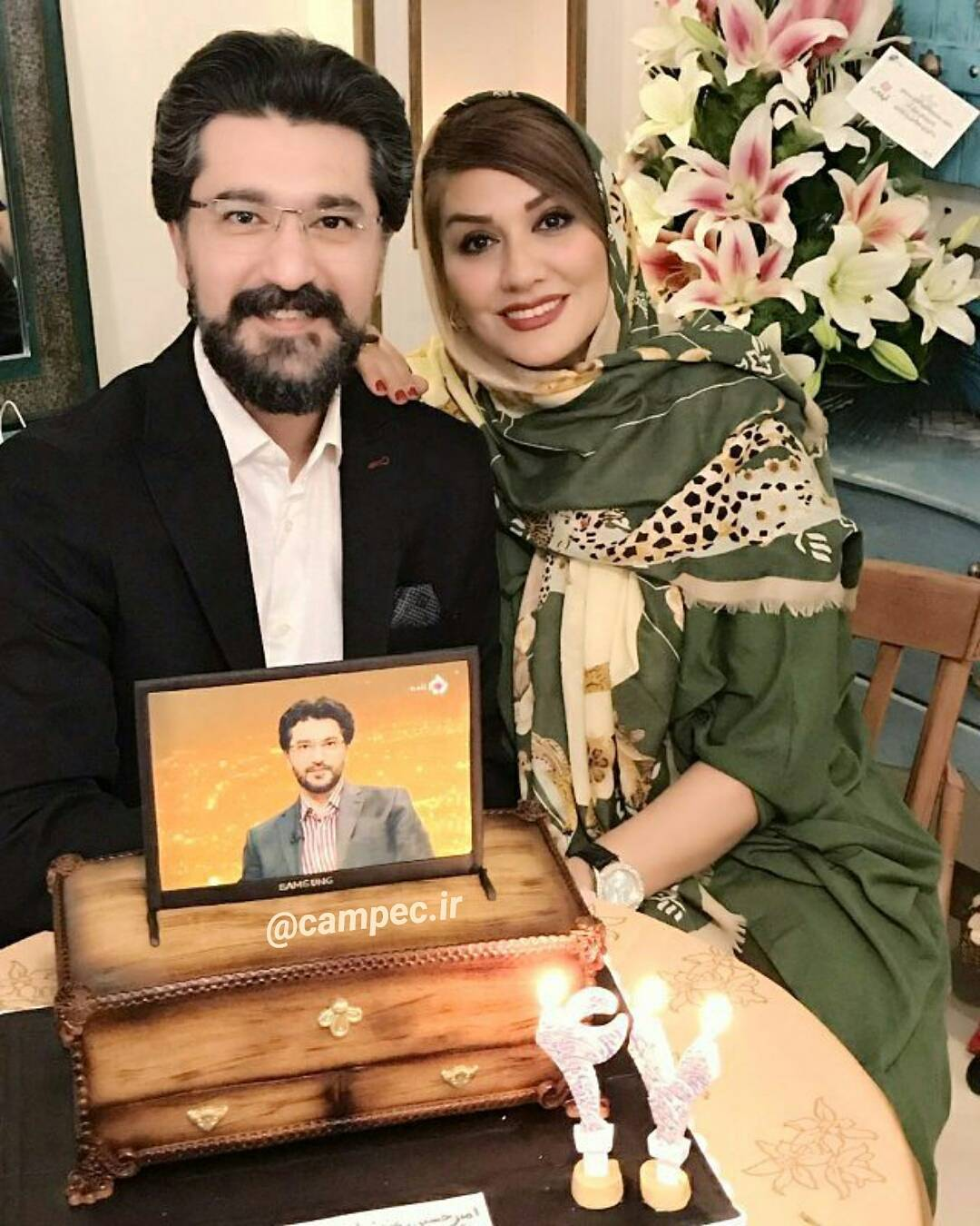 امیرحسین با مدرس با همسرش