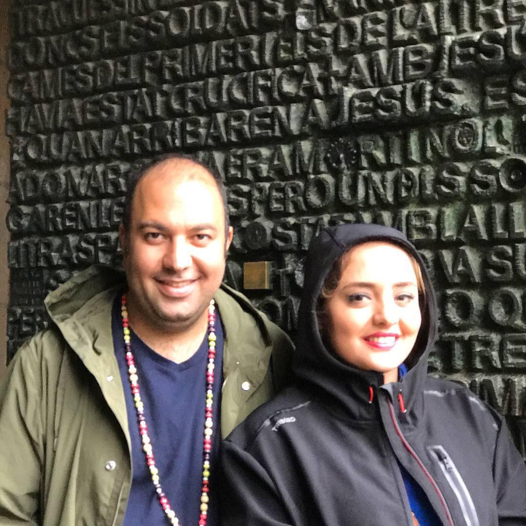 عکس نرگس محمدی با همسرش علی اوجی در بارسلون