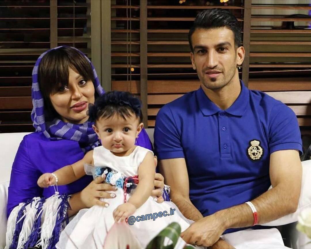 عکس حسین ماهینی با همسر و فرزندش